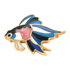 Tiffany & Co. Gold Enamel Fish Pin Tropical Fish Brooch