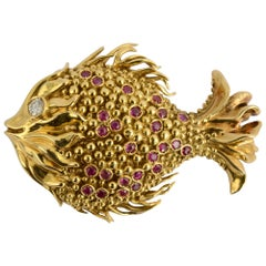 Tiffany & Co. Gold Fish Brooch with Rubies