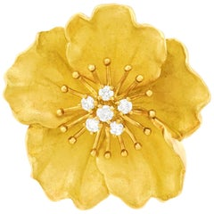 Tiffany & Co. Gold Flower Brooch with Diamonds