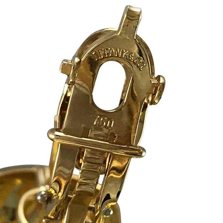 Modern Tiffany & Co. 18 Karat Gold Hoop Huggie Button Earrings For Sale