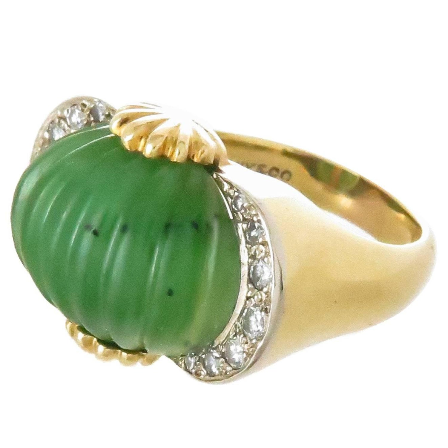 8f4064a53 Tiffany and Co. Gold Jade and Diamond Ring at 1stdibs