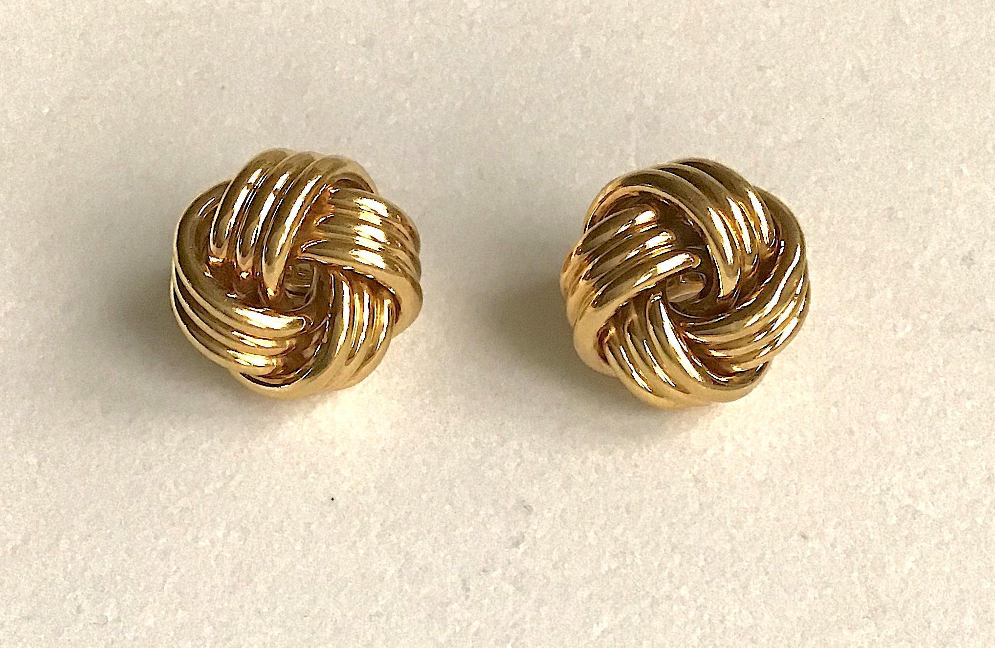 Tiffany Co Gold Love Knot Clip Earrings