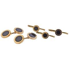Tiffany & Co. Gold Onyx Cufflinks Stud Set