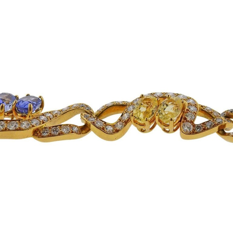 Tiffany & Co. Gold Pink Blue Yellow Sapphire Bracelet In Excellent Condition For Sale In New York, NY