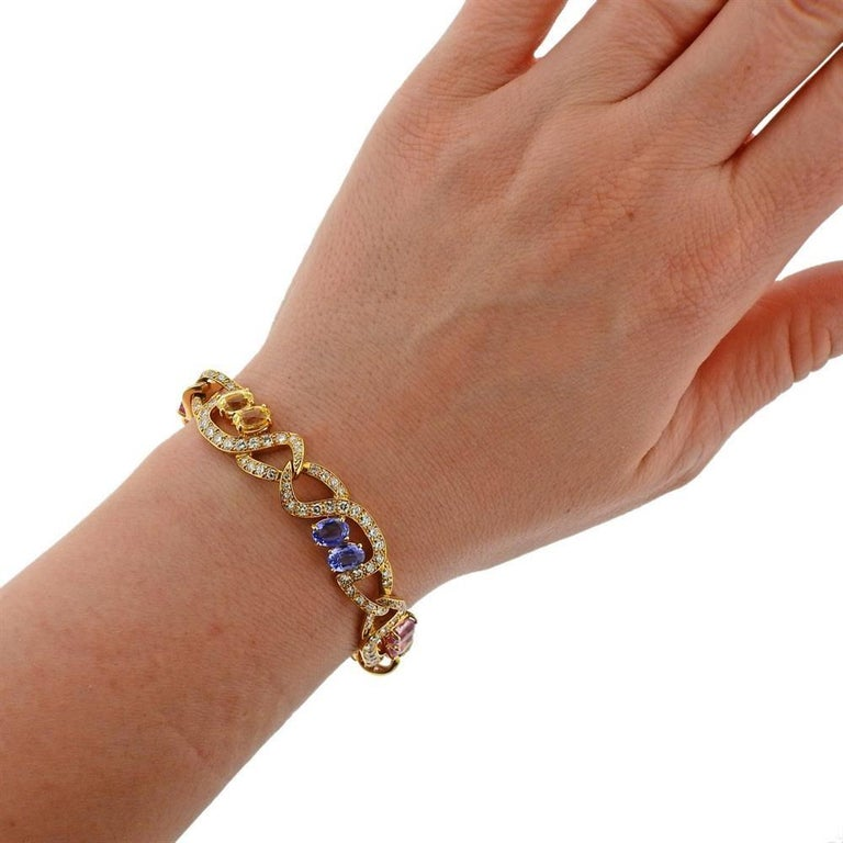 Tiffany & Co. Gold Pink Blue Yellow Sapphire Bracelet For Sale 1