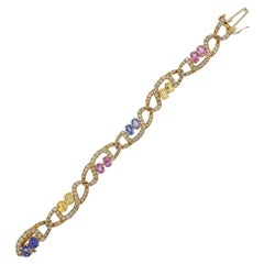 Tiffany & Co. Gold Pink Blue Yellow Sapphire Bracelet