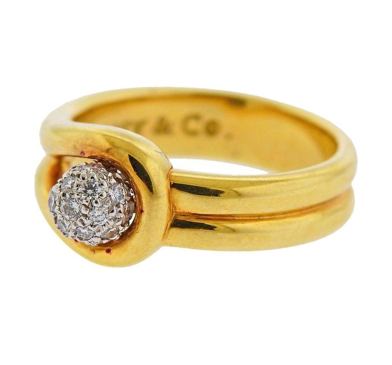 Tiffany & Co. Gold Platinum Diamond Ring In Excellent Condition For Sale In Boca Raton, FL