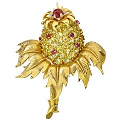 Tiffany & Co. Gold Platinum Peridot and Ruby Schlumberger 'Thistle' Clip-brooch