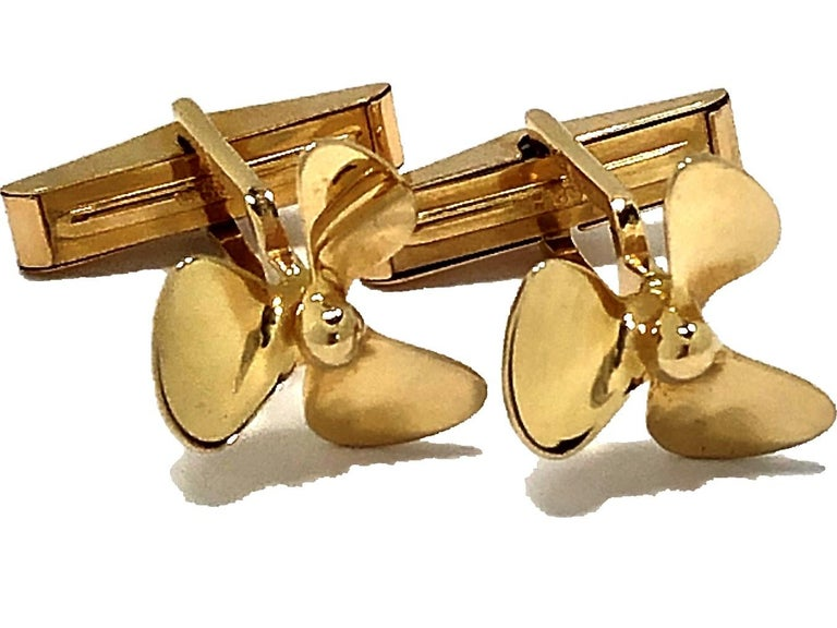 Men's Tiffany & Co. Gold Propeller Cuff Links For Sale