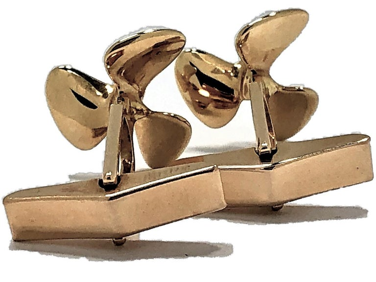 Tiffany & Co. Gold Propeller Cuff Links For Sale 1