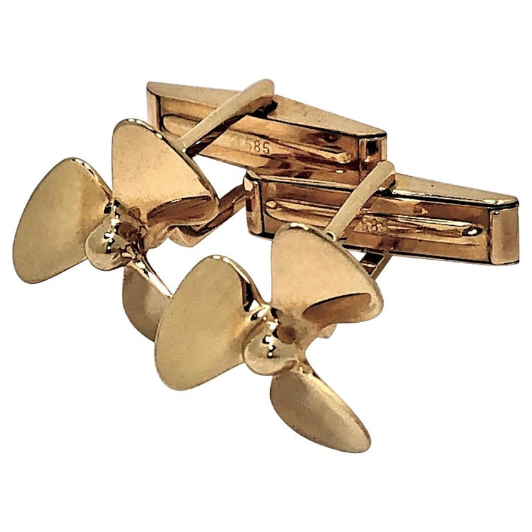 Tiffany & Co. Gold Propeller Cuff Links For Sale