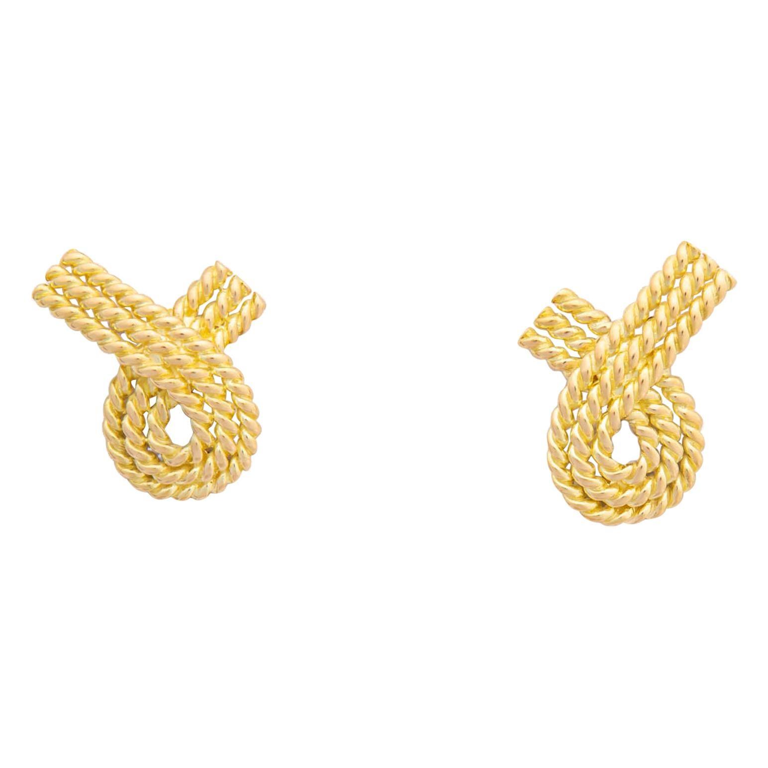 Tiffany & Co. Gold Ribbon Motif Earrings