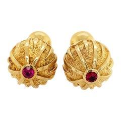 Tiffany & Co. Gold Ruby Cufflinks