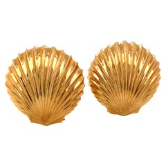 Tiffany & Co. Gold Shell Double Clip Pins, c1950