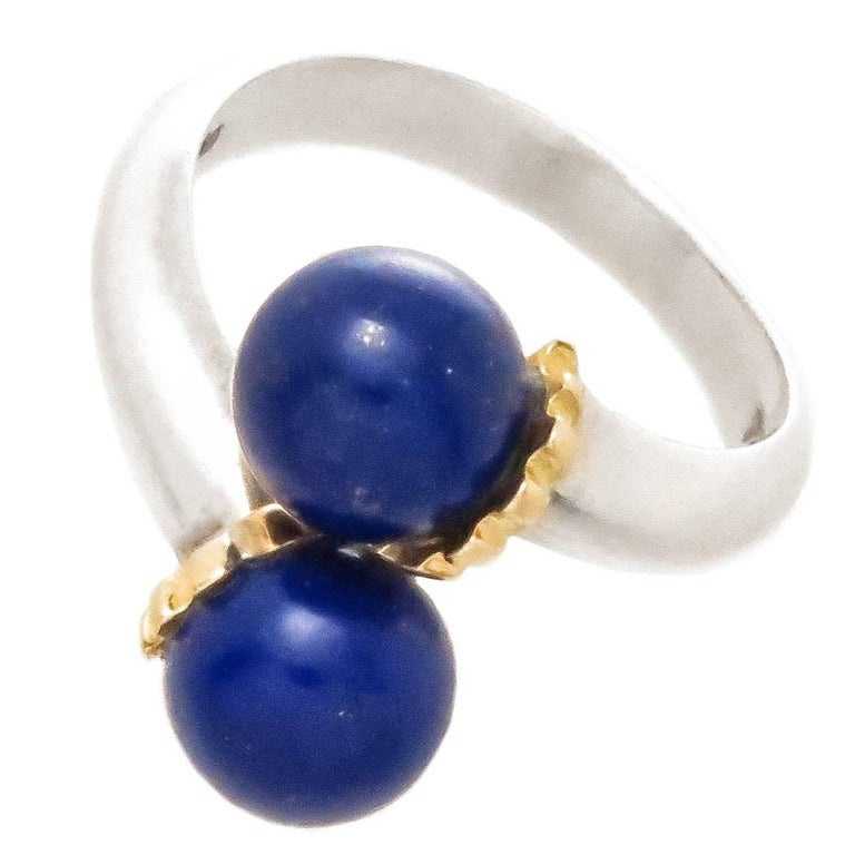 c5e4aaa89 Tiffany and Co. Gold Silver and Lapis Ring For Sale at 1stdibs