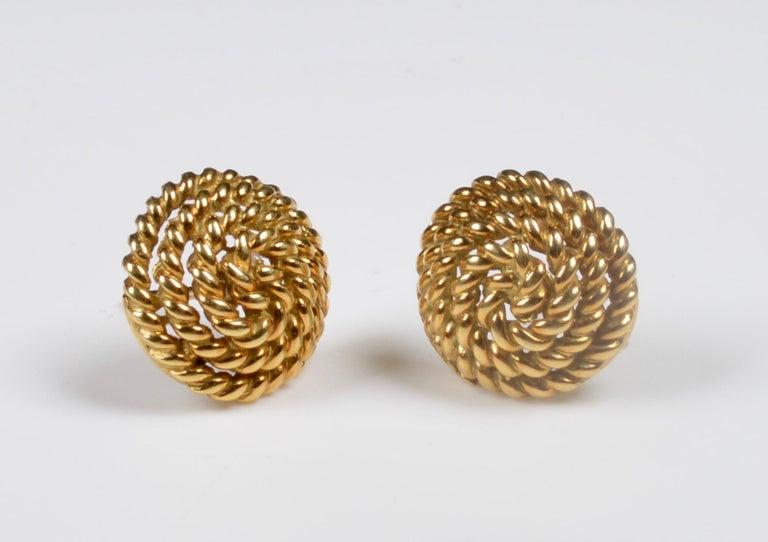 Modern Tiffany & Co. 18 Karat Gold Spiral Stud Earrings For Sale