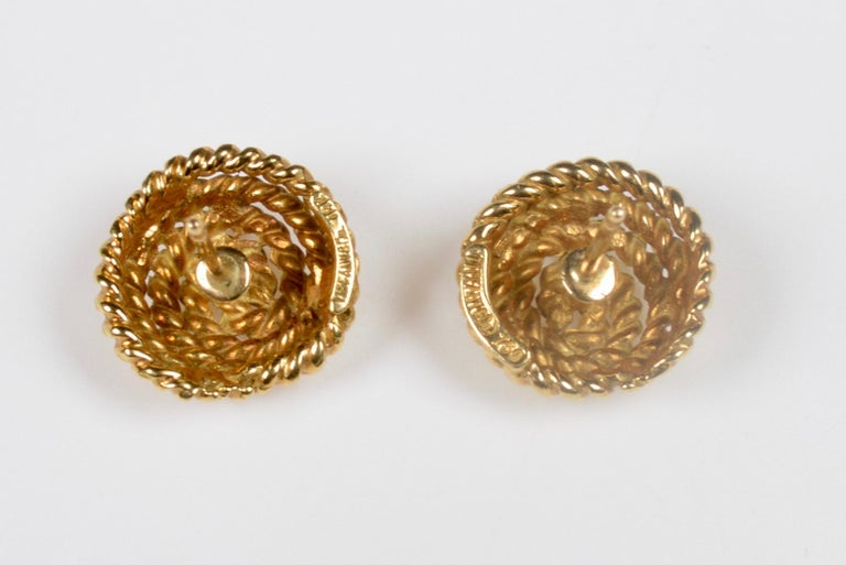 Tiffany & Co. 18 Karat Gold Spiral Stud Earrings In Good Condition For Sale In Kent, GB