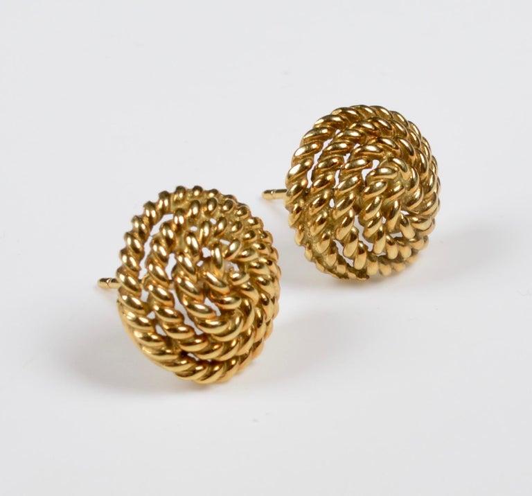 Tiffany & Co. 18 Karat Gold Spiral Stud Earrings For Sale 1