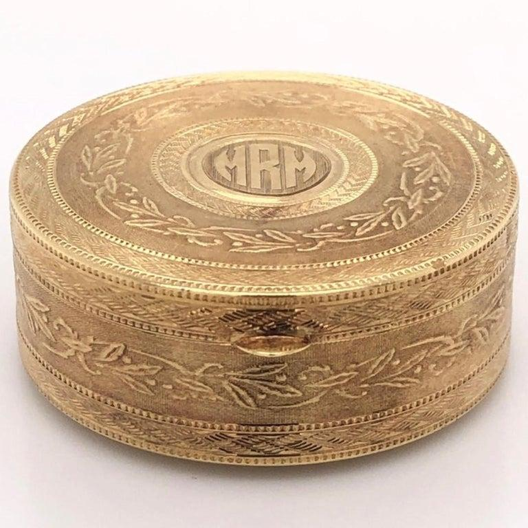 Neoclassical Tiffany & Co. Gold Trinket Box with Ring Holder Estate Fine Collectible For Sale