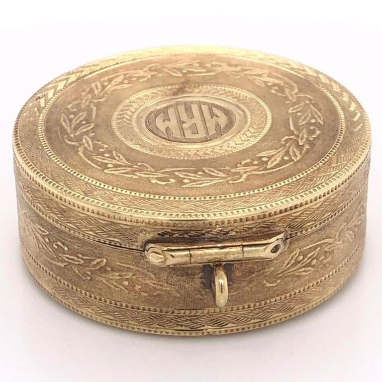 Hand-Crafted Tiffany & Co. Gold Trinket Box with Ring Holder Estate Fine Collectible For Sale