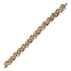 Tiffany & Co. Gold, Turquoise, Faceted Sapphire and Diamond Bracelet