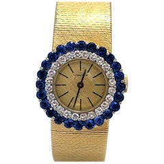 Tiffany & Co. Gold Watch with One Diamond Bezel and One Sapphire Bezel