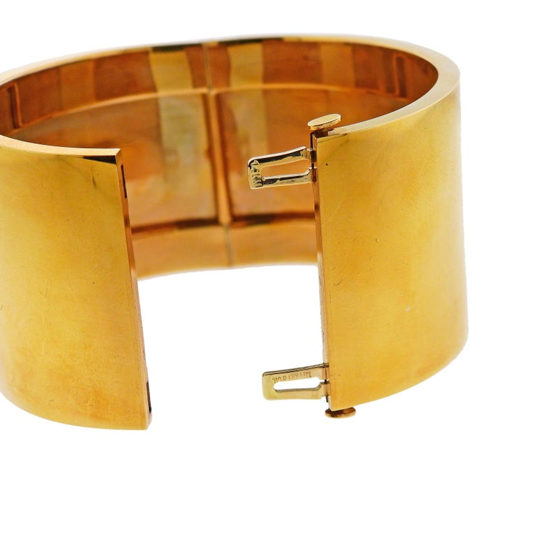 Tiffany & Co. Gold Wide Bangle Bracelet In Excellent Condition For Sale In Lahaska, PA