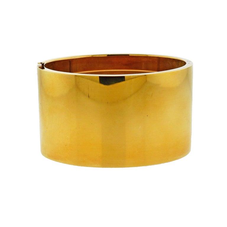 Tiffany & Co. Gold Wide Bangle Bracelet For Sale
