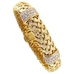 Tiffany & Co. Gold Woven-Link Vannerie Diamond Bracelet