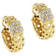 Tiffany & Co. Gold Woven Vannerie Diamond Earrings