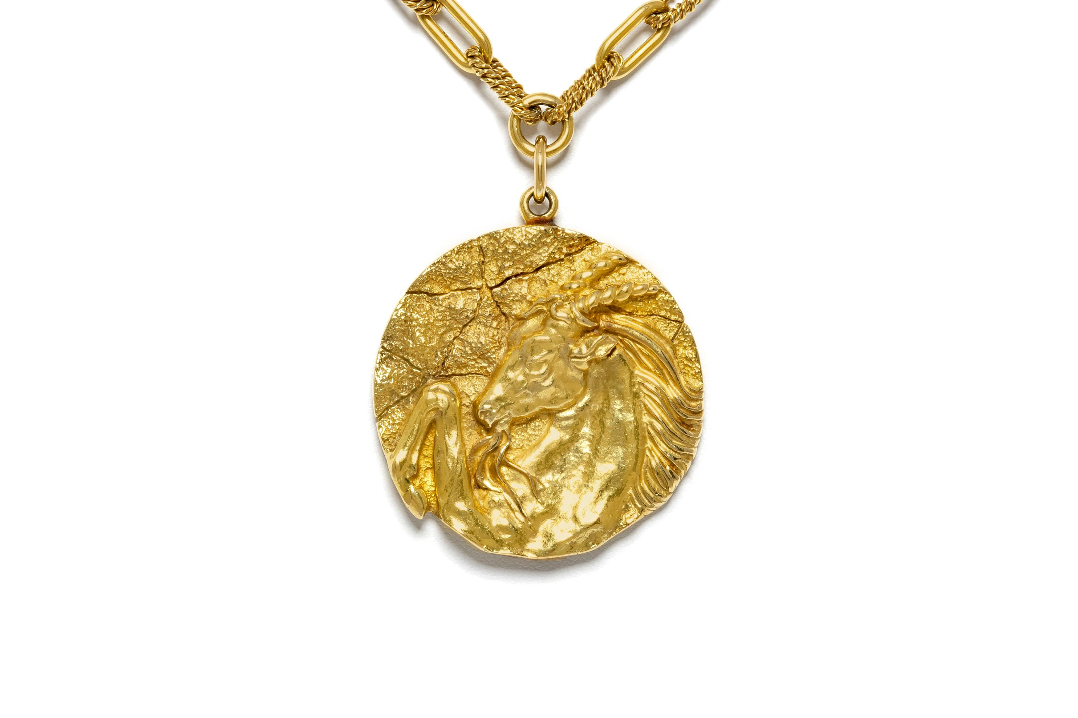16141aea0 Tiffany and Co. Gold Zodiac Pendant Chain Necklace For Sale at 1stdibs