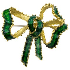 Tiffany & Co. Green Enamel 18 Karat Gold Bow Pin
