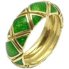 Tiffany & Co. Green Enamel and Yellow Gold Band