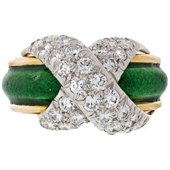 Tiffany & Co. Green Enamel Schlumberger Round Pave X-Diamond Ring