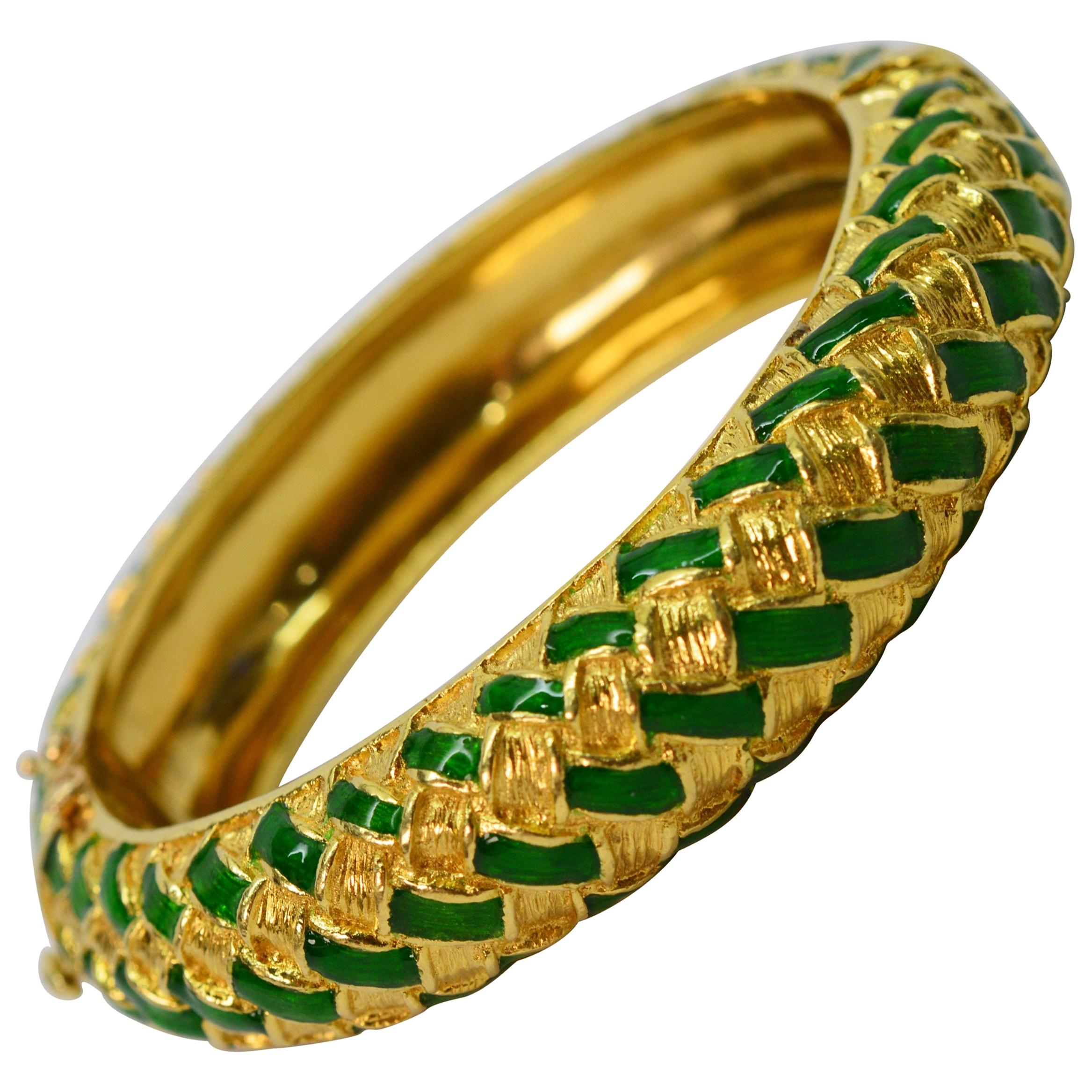Tiffany & Co. Green Enamel Yellow Gold Basket Weave Bangle Bracelet