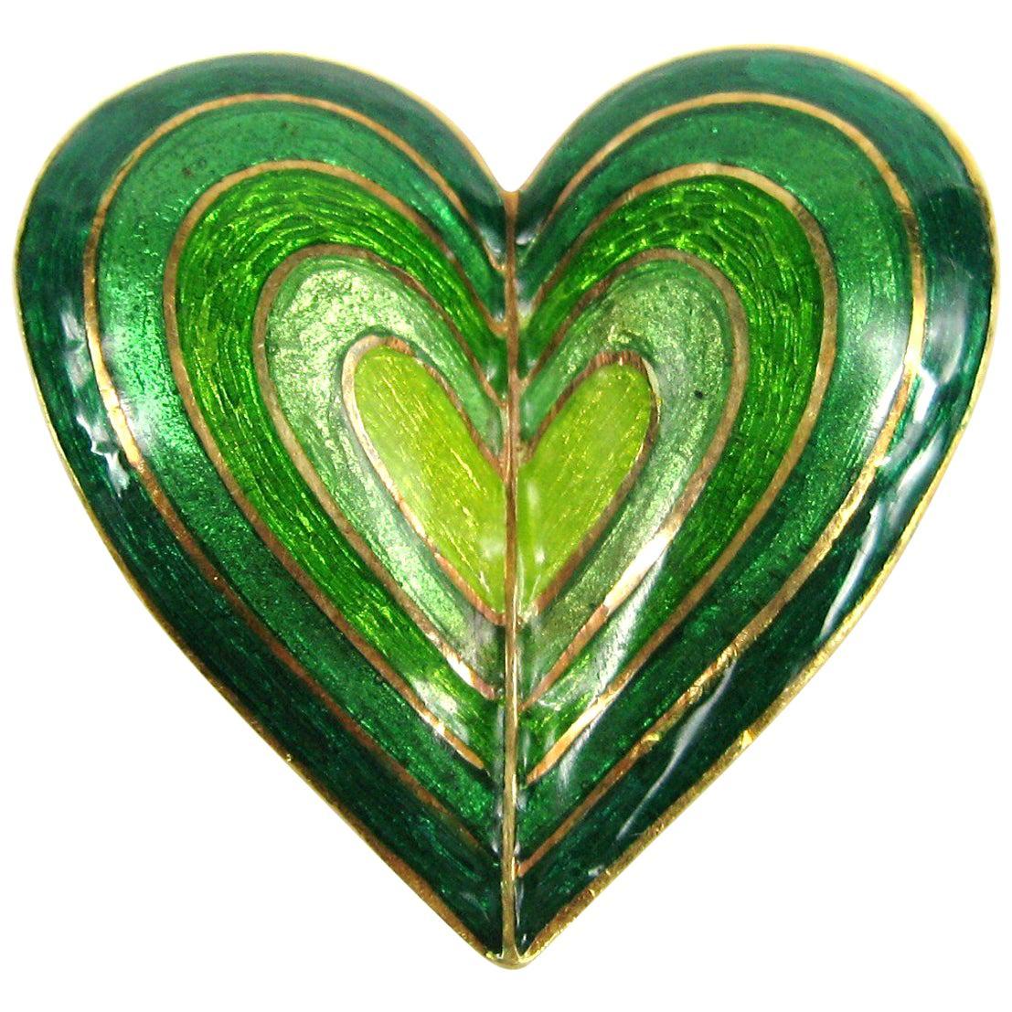 Tiffany & Co. Green Ombre Enamel 18 Karat Gold Brooch Pendant
