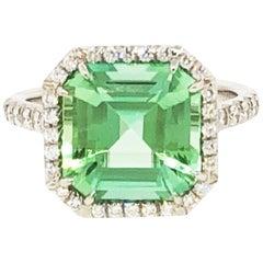 Tiffany & Co. Green Tourmaline and Diamond Ring
