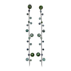 Tiffany & Co Green Tourmaline Diamond Platinum Long Drop Earrings