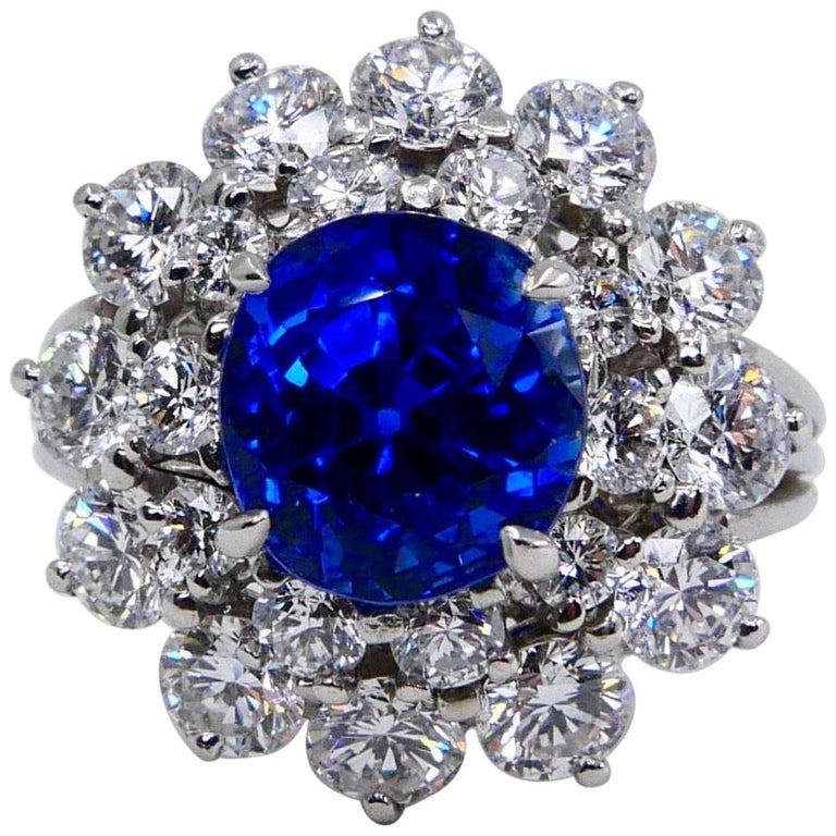 Tiffany & Co Gubelin Certified Burma No Heat Sapphire 4.35 Cts Plat Diamond Ring For Sale