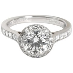 Tiffany & Co. Halo Diamond Engagement Ring in Platinum E VVS2 1.51 Carat
