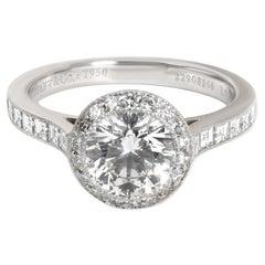 Tiffany & Co. Halo Diamond Engagement Ring in Platinum E VVS2 1.51 CTW