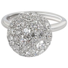 Tiffany & Co. Hardwear Diamond Ball Ring in 18 Karat White Gold 2.99 Carat