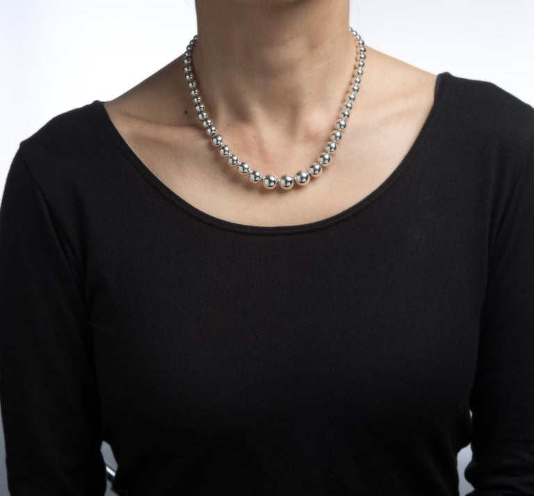 Tiffany And Co Hardwear Graduated Ball Necklace Silver Beads 16 Estate Jewelry For Sale At 1stdibs