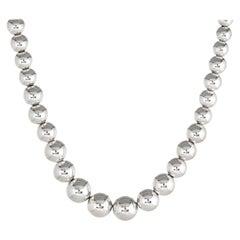 Tiffany & Co. Hardwear Graduated Ball Necklace Silver Beads Estate Jewelry