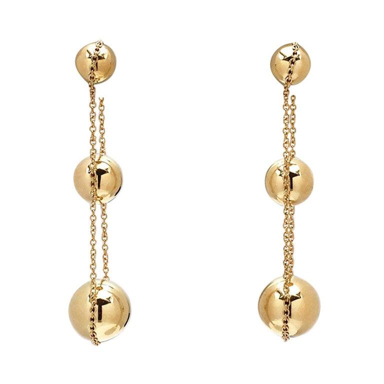 Tiffany & Co. 'HardWear Triple-Drop' Yellow Gold Earrings For Sale