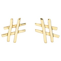 Tiffany & Co Hashtag Earrings Paloma Picasso 18k Yellow Gold Pound Sign Jewelry
