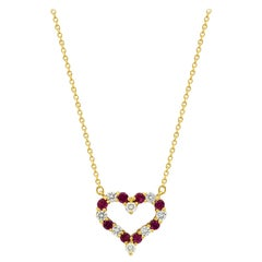 Tiffany & Co. Heart 18 Karat Gold Ruby 0.50 Carat Diamond 0.40 Carat Necklace