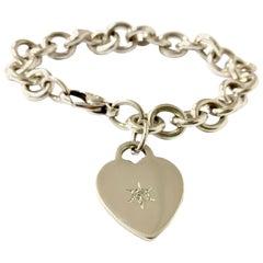 Tiffany & Co. Heart Charm Sterling Silver Diamond Bracelet