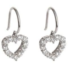 Tiffany & Co. Heart Dangle Diamond Earrings in Platinum 0.72 Carat
