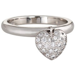 Tiffany & Co. Heart Diamond Charm Ring Estate Platinum Tag Pave Set Jewelry